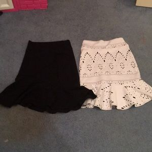 We are selling a black skirt and a white one